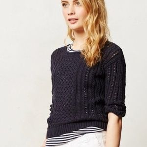MOTH Anthropologie Zip Back Navy Sweater M